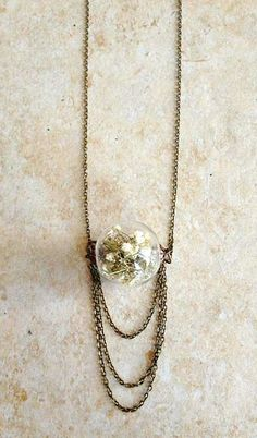 Baby's Breath Pendant Necklace with Draping Chains - just the bobble