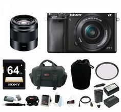 Sony Alpha a6000 Mirrorless Camera w/ 16-50mm & 50mm f/1.8 Lens Bundle. Sony Authorized Dealer - Includes USA Manufacturer's Warranty. World's fastest auto focus with 179 AF points and 11FPS. High resolution with 24MP APS-C sensor. Instant sharing via smartphone with Wi-Fi and NFC. Includes - Sony DSLR SEL50F18 Sel 50mm F1.8 Nex System Camera Lens / Focus DSLR Camera Accessory Kit with Micro HDMI Cable / Sony 32GB SDHC/SDXC Class 10 UHS-1 Memory Card / Medium Neoprene DSLR Camera Lens Po.