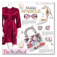 """""""Holiday Sparkle With The RealReal: Contest Entry"""" by dressedbyrose ❤ liked on Polyvore featuring 10 Crosby Derek Lam, Manolo Blahnik, Christian Dior, Jimmy Choo and Mawi"""