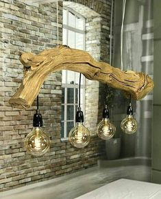Trunk ceiling lamp, with led vintage lamps.- Trunk ceiling lamp, with led vintage lamps. Trunk ceiling lamp, with led vintage lamps. Natural and industrial look. Intarsia Woodworking, Learn Woodworking, Woodworking Techniques, Woodworking Projects Diy, Woodworking Furniture, Diy Wood Projects, Woodworking Plans, Woodworking Joints, Woodworking Patterns