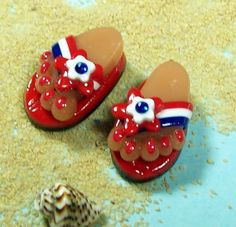 Flip Flop BEADS Handmade from Polymer Clay by BarbiesBest on Etsy, $7.00
