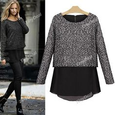 Winter Casual Patchwork Crew Neck Sweater Knitwear for Women Girl Ladies (M,L) DCD-364064