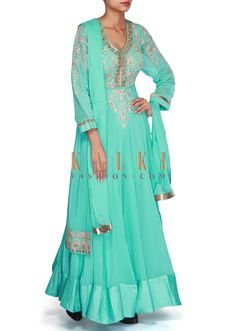 Buy Online from the link below. We ship worldwide (Free Shipping over US$100) SKU - 301602. Product Link - http://www.kalkifashion.com/turq-anarkali-suit-adorn-in-zari-embroidery-only-on-kalki-17840.html