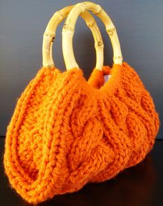 Orange Cable Knit Purse With Bamboo Handles...gorgeous for autumn!