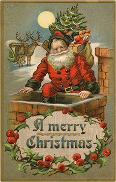 Old Santa Chimney Clipart images 6 Santa Chimney Clipart Images - Color & BW! Merry Christmas Images, Vintage Christmas Images, Christmas Past, Victorian Christmas, Retro Christmas, Christmas Crafts, Christmas Fabric, White Christmas, Easter Crafts