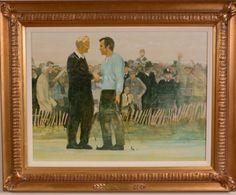 Walt Spitzmiller - The Concession 18 x 24 Oil on canvas 1969 Ryder Cup framed Golf Art, Ryder Cup, Oil On Canvas, Frame, Painting, Picture Frame, Painting Art, Paintings, Frames