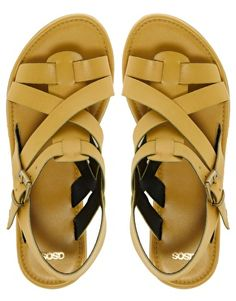 Yellow Leather Flat Sandals