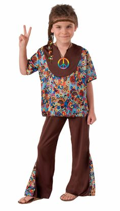 70s Hippy Boy Halloween Costume - Chill out. Relax. For the boy who has a laid back attitude, this costume will show the world that he is oh so cool. Perfect costume for the reluctant dresser-upper, it is so easy to wear.  Retro and stylish, this costume is the perfect choice for a modern day flower child. The floral top and bell bottom pants will draw attention as your little man heads out trick or treating. #calgary #yyc #hippie #costume #kids #70s #retro