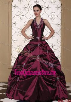 Halter-top Taffeta Dress for Quinceanera with Beadings in Dark Red Color