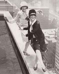 Flapper girls dance on rooftop Roaring 1920s