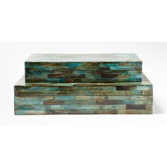 Colors of the Sea - Verdigris Covered Box Set from Tozai available at Carmel Decor - $264.00