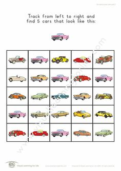 "In the ""Car Tracking Basic"" worksheets, the student must find all the cars that look the same as the example at the top of the page. Learning For Life, Visual Learning, Figure Ground Perception, Car Tracking, Student, Worksheets, Top, Index Cards, Cars"