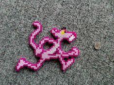 Made a cool looking Pink Panther . Easy Perler Bead Patterns, Melty Bead Patterns, Diy Perler Beads, Beading Patterns, Peyote Patterns, Perler Bead Mario, Perler Bead Disney, Pixel Beads, Fuse Beads