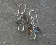 Green Amethyst Labradorite and Smokey Quartz by LindseySilberman