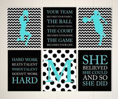 Teen girl wall art, basketball art, girls basketball, basketball room decor, monogram, set of 6, choose your colors and sports by PicabooArtStudio