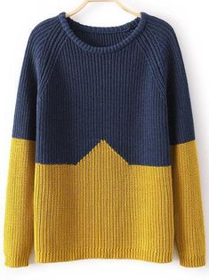 Blue Yellow Long Sleeve Loose Knit Sweater - abaday.com