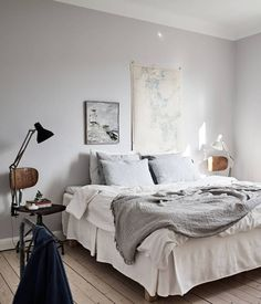 I'm so intrigued by this home. I especially like the dark grey living room with the big dining table … Continue reading → Scandi Bedroom, Small Room Bedroom, Home Bedroom, Bedrooms, Tranquil Bedroom, Bed Frame And Headboard, Farmhouse Interior, Cottage Interiors, Living Room Grey