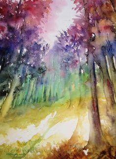 Cristina Dalla Valentina - Rainbow Forest 53 x 39 cm acquerello su carta, originale, firmato, senza cornice watercolor on paper, original, signed, unframed € 135 #watercolor #painting #art