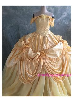 Beauty and the Beast Belle Gown Cosplay Dress Adult Belle Costume, Adult Costumes, Beauty And The Beast Costume, Disney Beauty And The Beast, Yellow Costume, Fairytale Gown, Disney Treasures, Hoop Skirt, Belle Dress