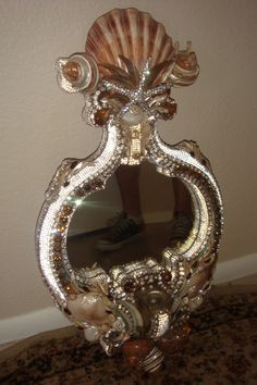 DOUGLAS CLOUTIER SEA SHELL AND SWAROVSKI CRYSTALS MIRROR