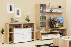 Bling - modern nappali világos sonoma tölgy - fényes fehér színben. Decoration, Bookcase, Entryway, Bling, Shelves, Wall, Room, Furniture, Tv