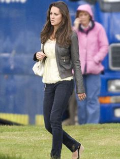 Kate Middleton Style File: 2009  Kate Middleton attends a charity polo match in June 2009 wearing a casual outfit consisting of jeans and a grey leather jacket.