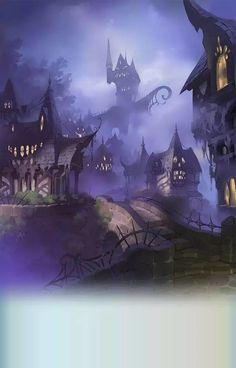 The Art Of Animation — Gran Blue Fantasy Fantasy Town, Fantasy House, Fantasy World, Dark Fantasy, Fantasy Illustration, Landscape Illustration, Digital Illustration, Environment Concept Art, Environment Design