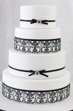 By Sharon Wee Creations. Cake Wrecks - Home Black And White Wedding Theme, White Wedding Cakes, Elegant Wedding Cakes, Elegant Cakes, Beautiful Wedding Cakes, Wedding Cake Designs, Beautiful Cakes, Amazing Cakes, Blue Wedding