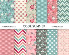 Digital paper pack in pink and green digital by ValerianeDigital  https://www.etsy.com/listing/127733240/digital-paper-pack-in-pink-and-green?ref=shop_home_active_10