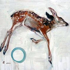 "Hung Liu  ""Deer Angel I"" via ArtNet"
