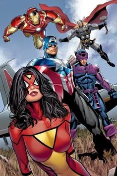 The Avengers and for those of you who don't know that Spider Woman is an Avenger. Yes she is part of the Avengers. Comic Book Characters, Comic Book Heroes, Marvel Characters, Comic Character, Comic Books, Character Design, Ms Marvel, Marvel Comics Art, Marvel Heroes
