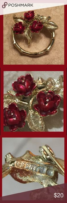 """Grandmothers B-Day Rose Brooch """"GERRY'S c."""" I was born the same day as my Grandmother ( June 18th ) our birth flower is a rose. This was one of her MANY rose items. The Gerry's Jewelry Company or Gerry's Creations, Inc. brand created costume jewelry from the early 1950s through 1996 when they went out of business. This is the Vintage Gerry's Rose Enameled Floral Circle Pin Brooch Vintage Jewelry Brooches"""