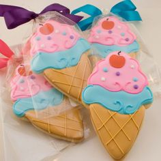 Ice Cream Cookies (12 decorated favors, bagged & bowed). $36.00, via Etsy.