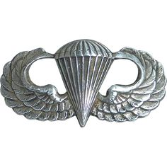 WWII Sterling Army Airborne Paratrooper Jump Wings Badge Pin www.rubylane.com #rubyredtagsale