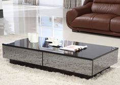 Black Coffee Table With Mirror Top