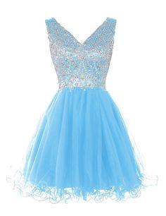 Mini Short Prom Dress Party Dress Fancy V-neck A-line Knee Length Tulle Blue Homecoming Dress With Beading Blue Homecoming Dresses, High Low Prom Dresses, V Neck Prom Dresses, Dresses Short, Prom Party Dresses, Summer Dresses, Dress Party, Occasion Dresses, Homcoming Dresses