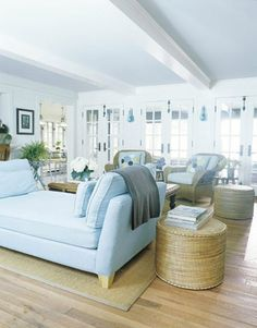 Pale blue and natural materials in this light bright beach house.