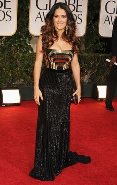 Salma Hayek, Gucci, Golden Globes 2012 Love the top of this dress!