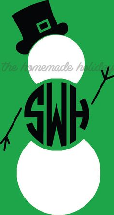 Snowman Monogram Car Decal holly Vinyl by TheHomeMadeHoliday