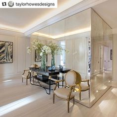 WEBSTA @ decca.london - Beautifully decorated interior featuring our bestselling Bolier console from the Modern Luxury Collection! #Repost @taylorhowesdesigns with @repostapp・・・We designed this amazing mirrored box to conceal the kitchen behind the large hallway#taylorhowesdesigns #bolier #console #interiordesign #inspiringinteriors #luxuryinteriors