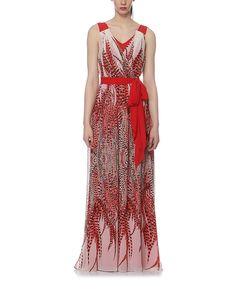 Look what I found on #zulily! Elfe Red Abstract Surplice Maxi Dress by Elfe #zulilyfinds