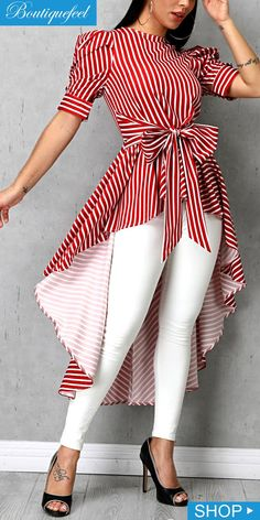 Striped Bowknot Detail Dip Hem Blouse - New Tutorial and Ideas African Fashion Dresses, African Dress, Dress Outfits, Casual Outfits, Fashion Outfits, Maxi Dresses, Fitness Video, Vetement Fashion, Trend Fashion