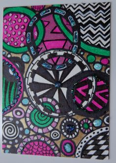 Aceo Original Abstract Ink Marker Glitter by HeatherMontgomeryArt, $9.00
