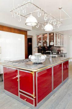 """Antique pot rack coupled with a contemporary Kitchen | Robert Schwartz & Karen Williams... via Houzz.com..."""