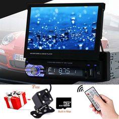 "1 Din Single 7"" HD Touch Screen Car Bluetooth Stereo Radio MP5 GPS+Camera+Map B@"
