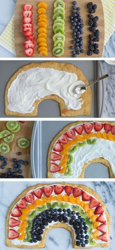 Use crescent roll dough for the crust and cut into the shap… Rainbow Fruit Pizza. Use crescent roll dough for the crust and cut into the shape of a rainbow! Cute Food, Yummy Food, Yummy Recipes, Healthy Recipes, Rainbow Fruit, Rainbow Snacks, Rainbow Pizza, Rainbow Crafts, Rainbow Desserts