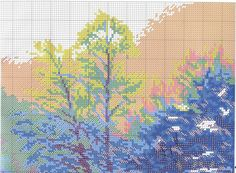 Winter River - 1 of 6 Cross Stitch Landscape, Cross Stitch Patterns, Christmas Stockings, Diagram, Nature, Painting, Landscapes, Stocking Ideas, Art