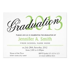 Time to fly classic,stylish graduation announcement party invitations. Elegant, simple black, lime green and white. For high school and college, university graduates.