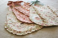 Quilted Bibs with sweet ruffles.
