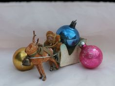 Aged Paper Mache and Cotton Wool Santa Claus, Reindeer, and Sleigh